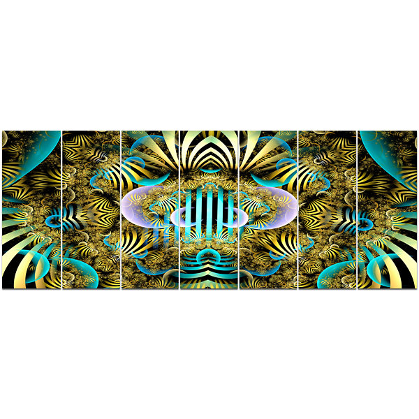 Designart Magical Fairy Pattern Brown Abstract ArtOn Canvas- 7 Panels