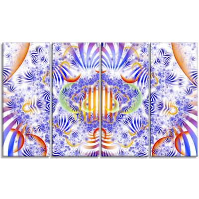 Designart Magical Fairy Pattern Blue Abstract ArtOn Canvas- 4 Panels