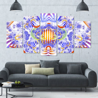 Designart Magical Fairy Pattern Blue ContemporaryArt On Canvas - 5 Panels