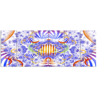 Designart Magical Fairy Pattern Blue Abstract ArtOn Canvas- 6 Panels