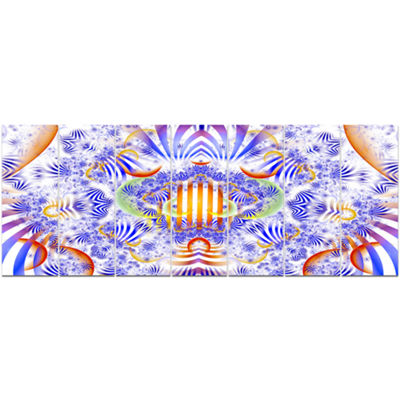 Designart Magical Fairy Pattern Blue Abstract ArtOn Canvas- 7 Panels