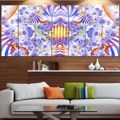 Design Art Magical Fairy Pattern Blue Abstract ArtOn Canvas- 7 Panels