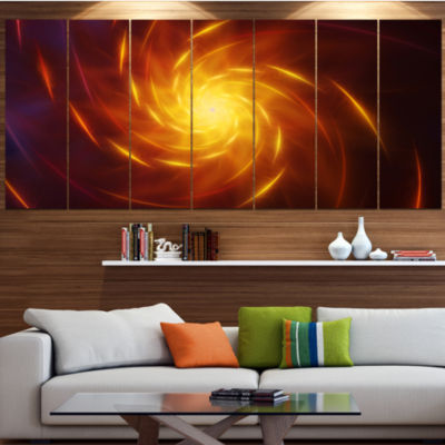 Yellow Whirlpool Fractal Spirals Abstract Art On Canvas - 5 Panels