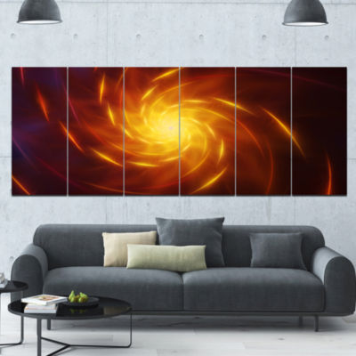 Yellow Whirlpool Fractal Spirals Abstract Art On Canvas - 6 Panels