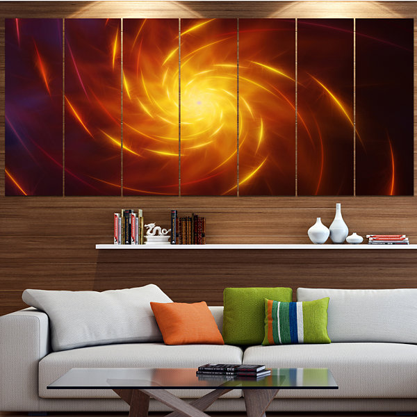 Designart Yellow Whirlpool Fractal Spirals Abstract Art On Canvas - 7 Panels