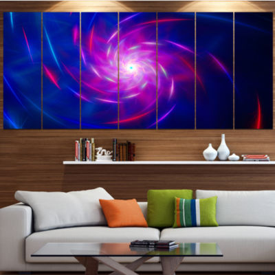 Blue Whirlpool Fractal Spirals Abstract Art On Canvas - 7 Panels