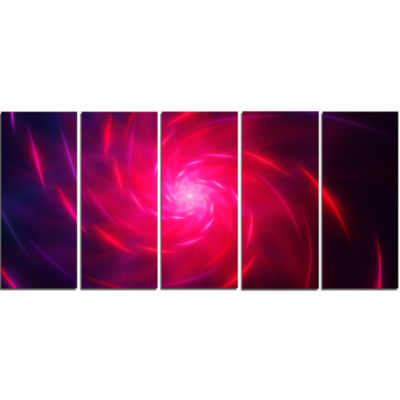 Pink Whirlpool Fractal Spirals Abstract Art On Canvas - 5 Panels