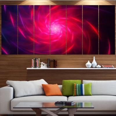 Designart Pink Whirlpool Fractal Spirals AbstractArt On Canvas - 6 Panels