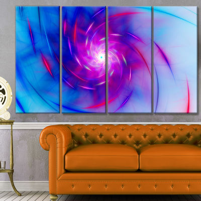 Turquoise Whirlpool Fractal Spirals Abstract Art On Canvas - 4 Panels