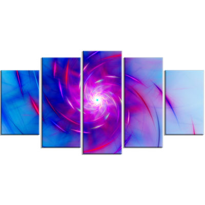 Designart Turquoise Whirlpool Fractal Spirals Contemporary Art On Canvas - 5 Panels