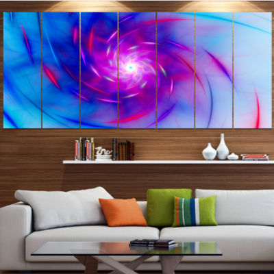 Design Art Turquoise Whirlpool Fractal Spirals Abstract Art On Canvas - 6 Panels
