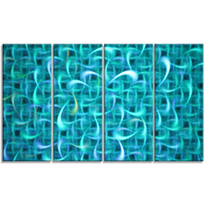 Designart Turquoise Watercolor Fractal Pattern Abstract Art On Canvas - 4 Panels