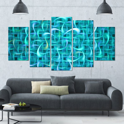 Designart Turquoise Watercolor Fractal Pattern ContemporaryArt On Canvas - 5 Panels