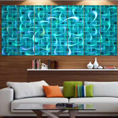 Turquoise Watercolor Fractal Pattern Abstract ArtOn Canvas - 5 Panels