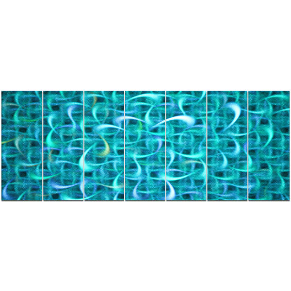 Designart Turquoise Watercolor Fractal Pattern Abstract Art On Canvas - 7 Panels