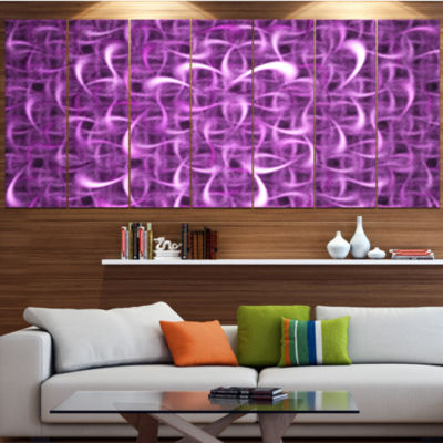 Designart Purple Watercolor Fractal Pattern Abstract Art OnCanvas - 7 Panels
