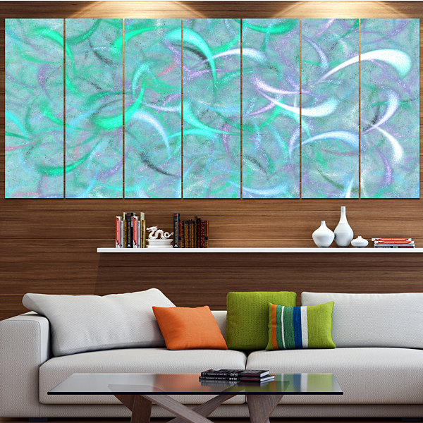 Designart Blue Watercolor Fractal Pattern AbstractArt On Canvas - 5 Panels