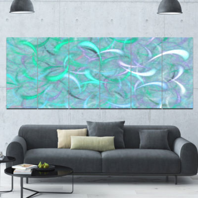 Blue Watercolor Fractal Pattern Abstract Art On Canvas - 6 Panels