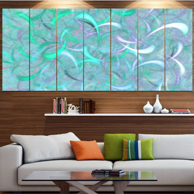 Designart Blue Watercolor Fractal Pattern AbstractArt On Canvas - 6 Panels