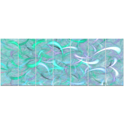Designart Blue Watercolor Fractal Pattern AbstractArt On Canvas - 7 Panels