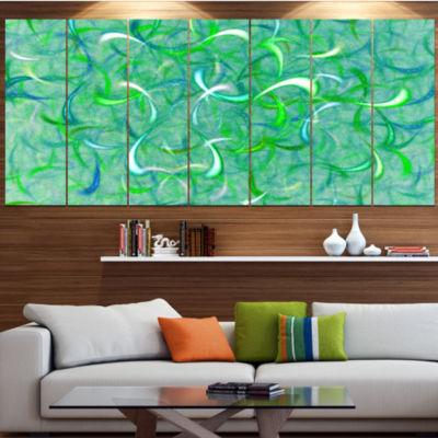 Designart Green Watercolor Fractal Pattern Abstract Art On Canvas - 4 Panels