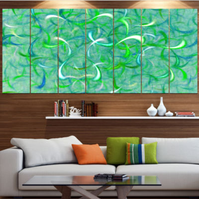 Design Art Green Watercolor Fractal Pattern Abstract Art On Canvas - 6 Panels