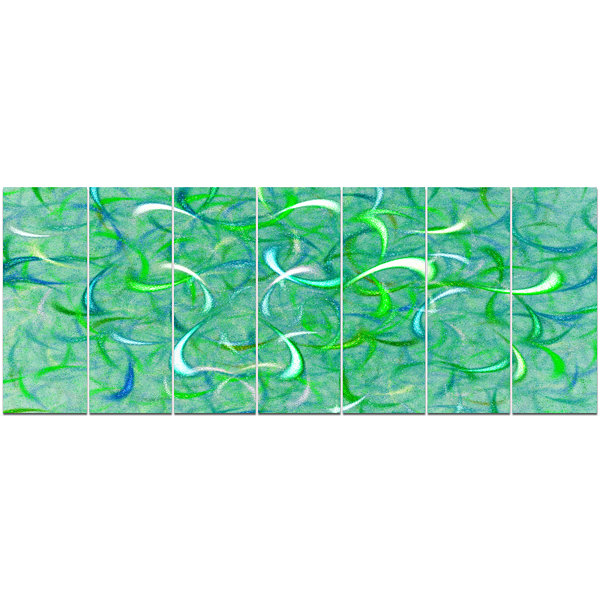 Design Art Green Watercolor Fractal Pattern Abstract Art On Canvas - 7 Panels