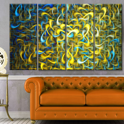 Golden Watercolor Fractal Pattern Abstract Art OnCanvas - 4 Panels