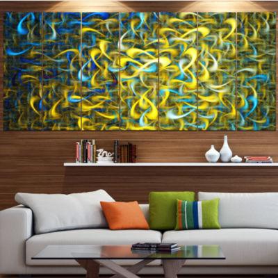 Designart Golden Watercolor Fractal Pattern Contemporary Art On Canvas - 5 Panels