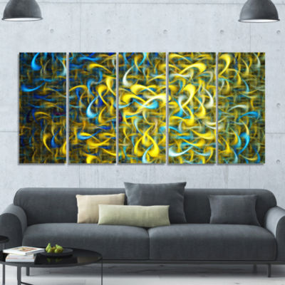 Golden Watercolor Fractal Pattern Abstract Art OnCanvas - 5 Panels
