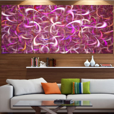 Designart Pink Watercolor Fractal Pattern AbstractArt On Canvas - 6 Panels