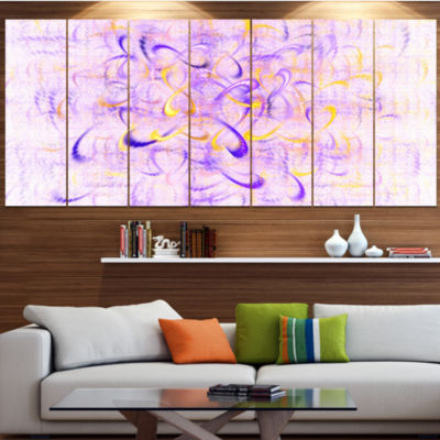 Designart Light Purple Watercolor Fractal Art Abstract Art On Canvas - 7 Panels