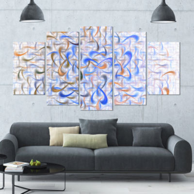 Light Blue Watercolor Fractal Art Contemporary ArtOn Canvas - 5 Panels