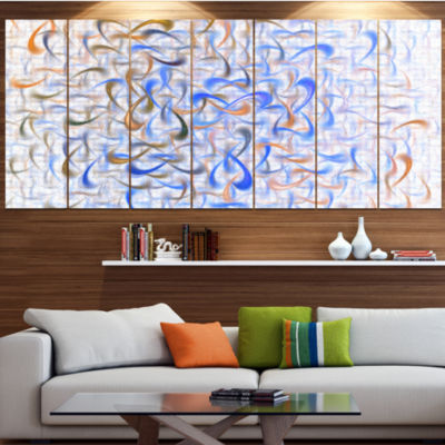 Designart Light Blue Watercolor Fractal Art Abstract Art OnCanvas - 6 Panels