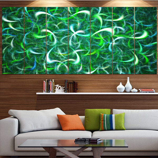 Design Art Dark Green Watercolor Fractal Art Abstract Art OnCanvas - 6 Panels