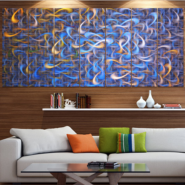 Designart Blue Golden Watercolor Fractal Art Abstract Art OnCanvas - 6 Panels