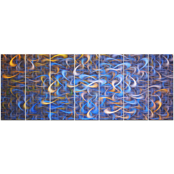 Designart Blue Golden Watercolor Fractal Art Abstract Art OnCanvas - 7 Panels
