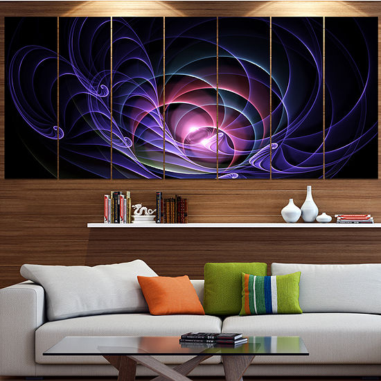 Designart Blue 3d Surreal Fractal Design Abstractart On Canvas 7 Panels