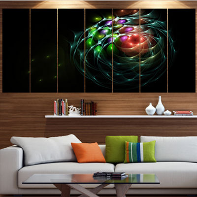 Designart Green 3D Surreal Fractal Design AbstractArt On Canvas - 4 Panels
