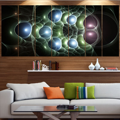 Designart Light Blue 3D Surreal Circles Contemporary Art OnCanvas - 5 Panels