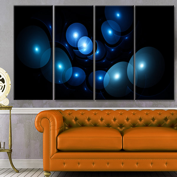 Designart Bright Blue 3D Surreal Circles AbstractArt On Canvas - 4 Panels