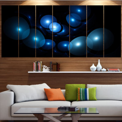 Designart Bright Blue 3D Surreal Circles AbstractArt On Canvas - 7 Panels