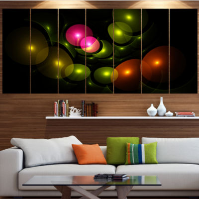 Designart Multi Color 3D Surreal Circles AbstractWall Art Canvas - 7 Panels