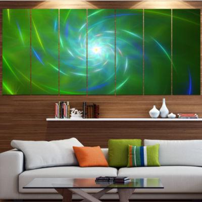 Designart Green Fractal Whirlpool Design AbstractWall Art Canvas - 7 Panels