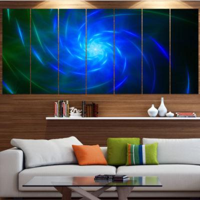Designart Blue Fractal Whirlpool Design AbstractWall Art Canvas - 7 Panels