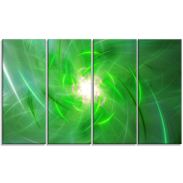 Designart Light Green Fractal Whirlpool AbstractWall Art Canvas - 4 Panels