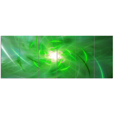 Designart Light Green Fractal Whirlpool AbstractWall Art Canvas - 6 Panels
