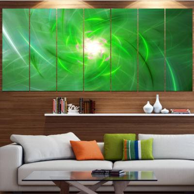 Designart Light Green Fractal Whirlpool AbstractWall Art Canvas - 7 Panels