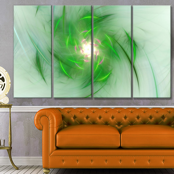 Designart Green On White Fractal Whirlpool Abstract Wall Art Canvas - 4 Panels