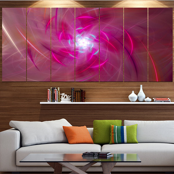 Designart Pink Fractal Whirlpool Design Contemporary Wall Art Canvas - 5 Panels